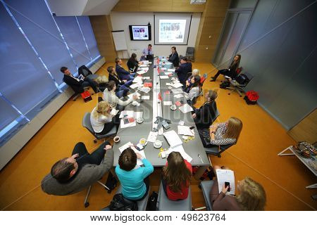 MOSCOW - DEC 20: The members discuss on Business Breakfast at the office Rosbank on December 20, 2012 in Moscow Russia.