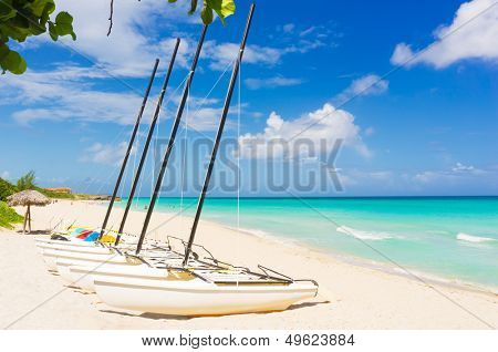 Catamarans at the beautiful beach of Varadero in Cuba