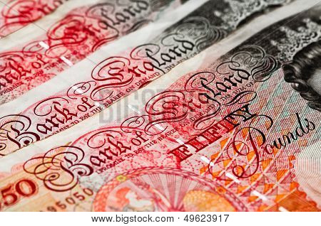 Fifty pounds sterling  UK Currency  Macro diagonal extract
