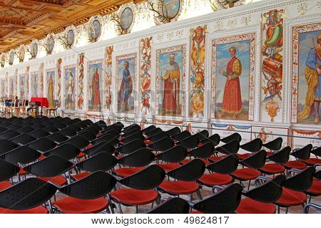 INNSBRUCK, AUSTRIA - AUGUST, 2012 : The Spanish Hall at Ambras Castle on August 13, 2012. This hall was constructed during the Renaissance in 1569- 1572. It is reserved for famous classical concerts.