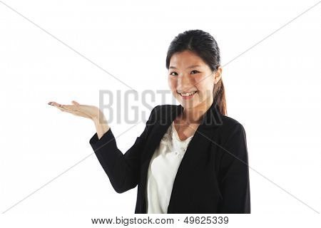 Woman Showing Copy Space for Product Open Hand Palm