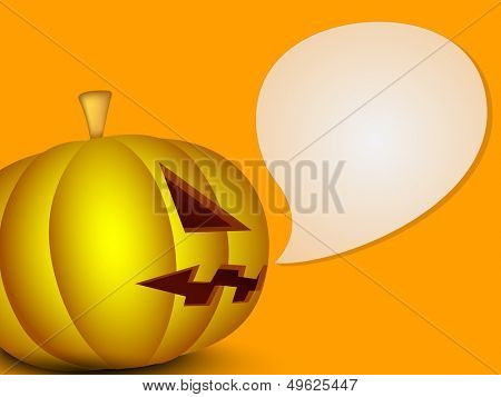 Scary Halloween pumpkin and speech bubble on orange background. can be use as a flyer, banner or poster for party night.