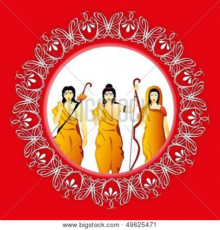 Indian festival Happy Dussehra background with illustration of Lord Rama, Sita and Laxman.