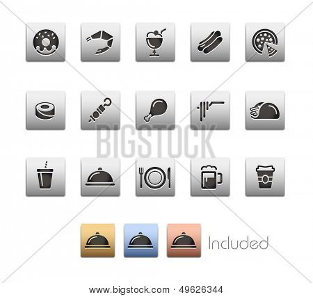 Food Icons - Set 2 // Metallic Series - It includes 4 color versions for each icon in different layers.