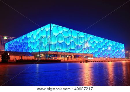 BEIJING, CHINA - APR 7: Beijing National Aquatics Center at night on April 7, 2013 in Beijing, China. The center was established for the 2008 Summer and Paralympics.