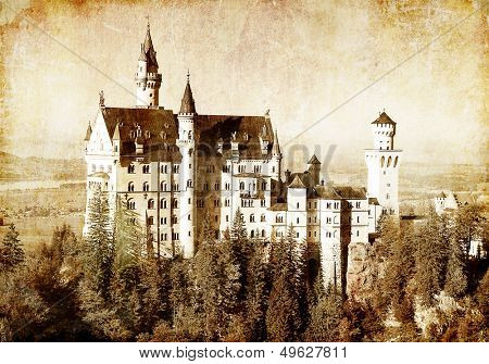Neuschwanstein castle - picture in retro style
