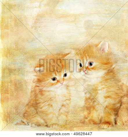 vintage paper with  two cute kittens