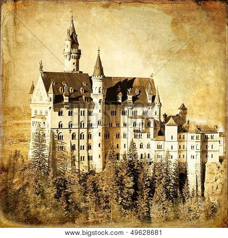 Neuschwanstein castle - old book cover style