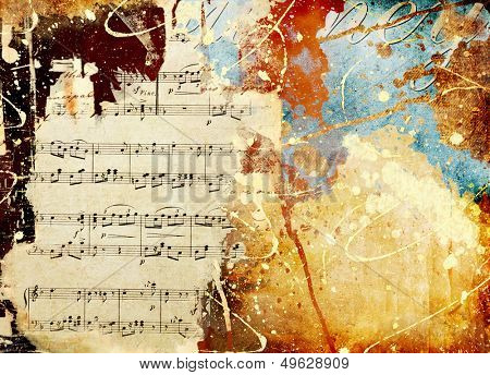 vintage grunge background from scraps and musical page