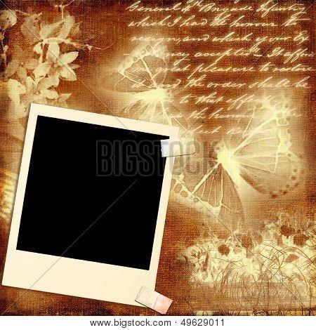 romantic retro background with  instant photo