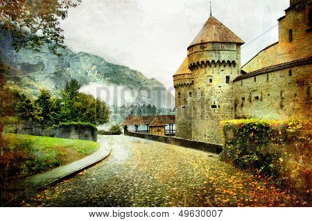 swiss castle - artistic picture in old painting style (from my castles collection)