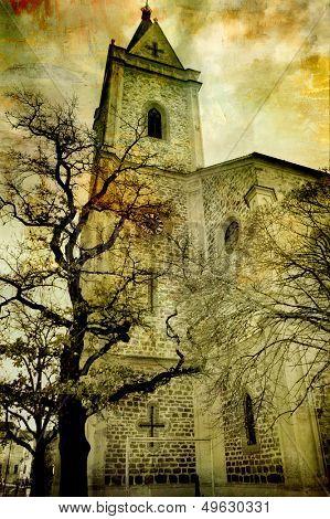 drammatic scene with church
