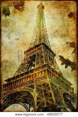 Eiffel tower - artistic toned picture in retro style