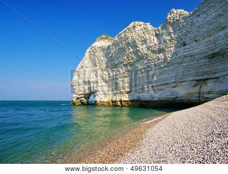 beautiful scene of Etretat rocks (Normandy, France)