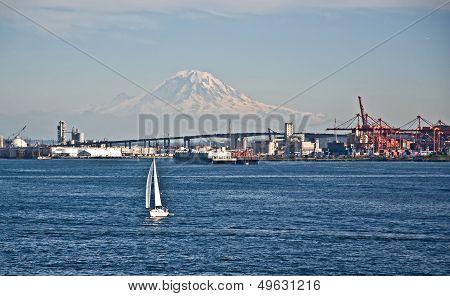 Sailboat Foreground Mt Rainier Washington Landscape