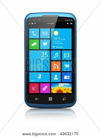 Modern smartphone with touchscreen interface