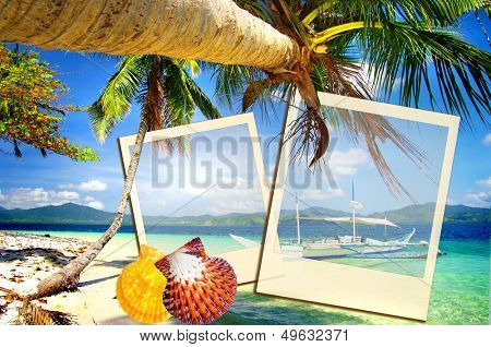 tropical holidays - artistic collage with instant frames