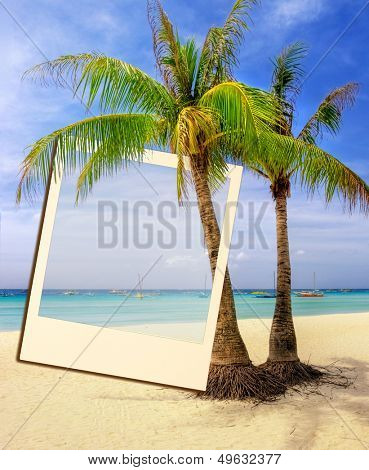 tropical holidays - summer background with instant frame