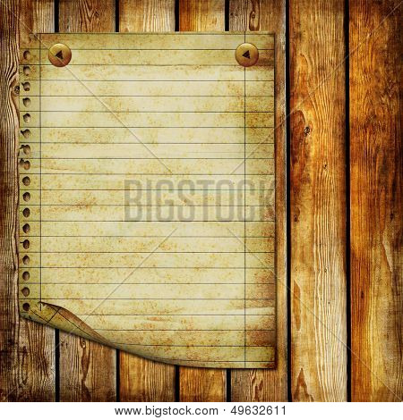wooden planks with blank old page