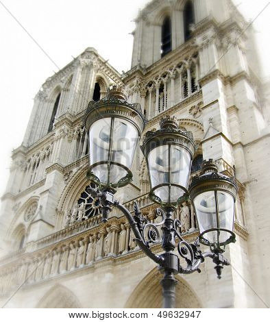 Notre-dame with lantern close-up