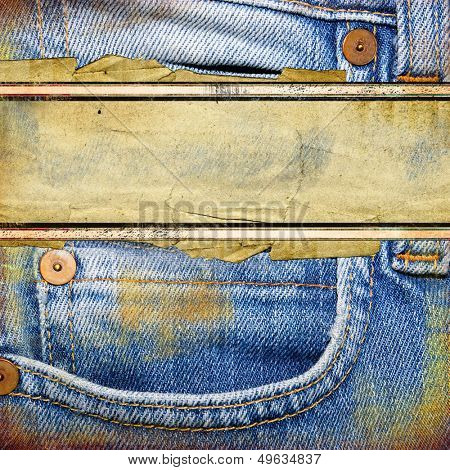 old jeans background with place for text