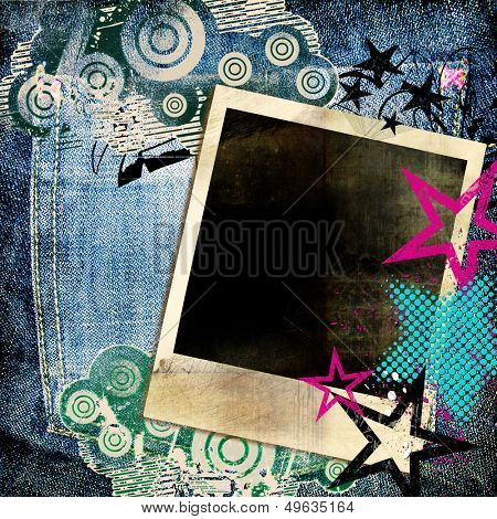 trendy retro background with graffti elements and instant frame