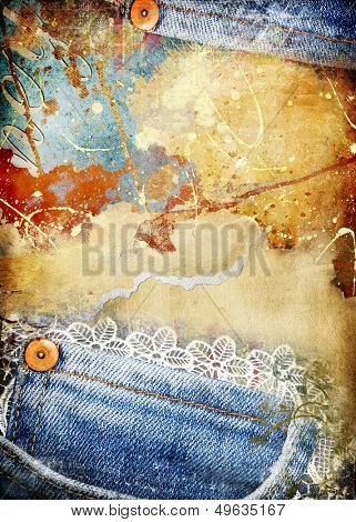 torn vintage grunge background with denim borders