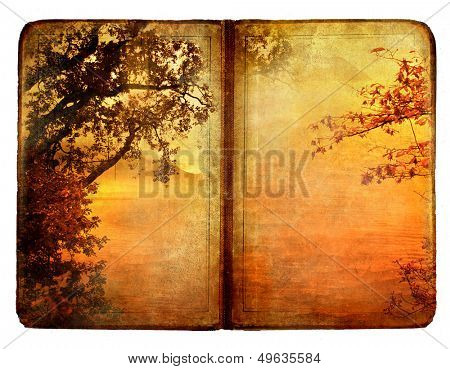 old book with autumn nature illustration