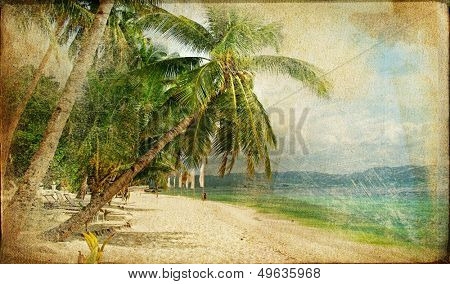 tropical beach -retro styled picture