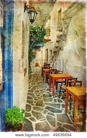 traditional greek tavernas - artwork in painting style