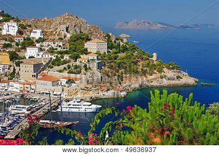 pictorial port of Hydra island - Greece series