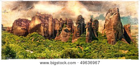 miraculous rocks of Meteora - Greece,artistic picture