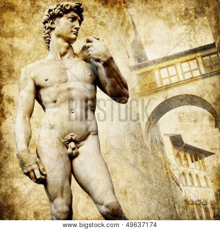 greatest italian landmarks series - David sculpture, artistic retro style