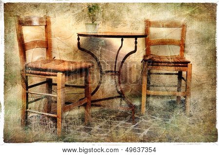 two old chairs - artwork in retro painting style