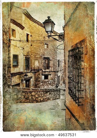 streets of medieval Spain - picture in painting style