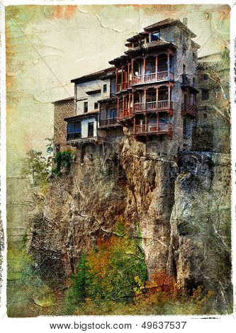 Cuenca - medieval town of Spain.Famous hanging houses - picture in painting style