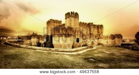 medieval castles of Spain - Coca castle, artistic toned picture