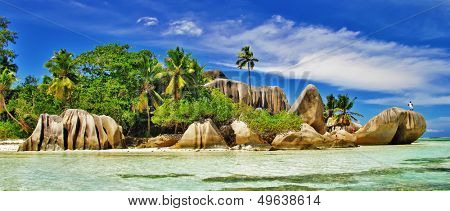 amazing Seychelles islands - La digue, famous granite rocky beach D'argent