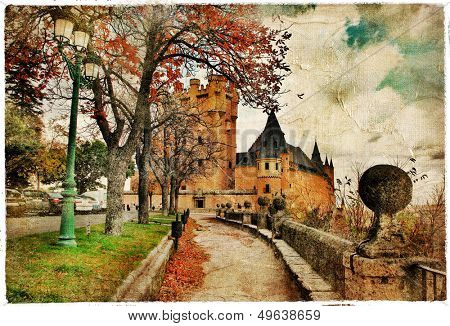 fairy Alcazar castle, Segovia , Spain, picture in painting style