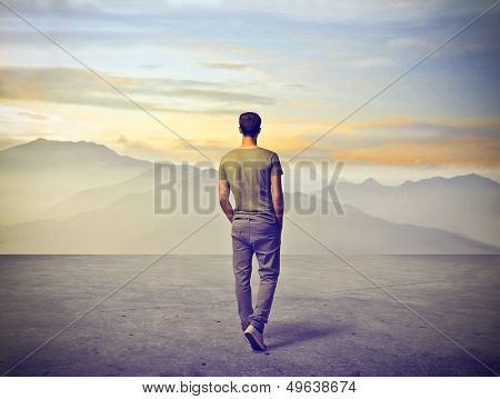 young man walking alone