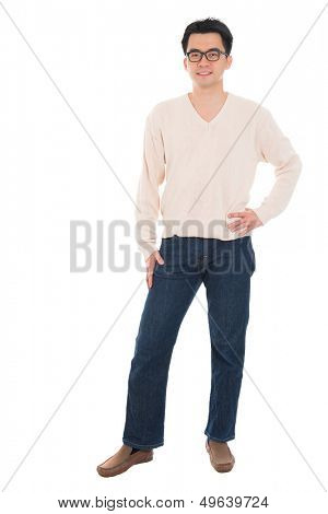 Full body Asian man in casual wear standing isolated on white background. Asian male model.