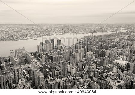 Brooklyn skyline Arial view from New York City Manhattan with Williamsburg Bridge over East River and skyscrapers black and white