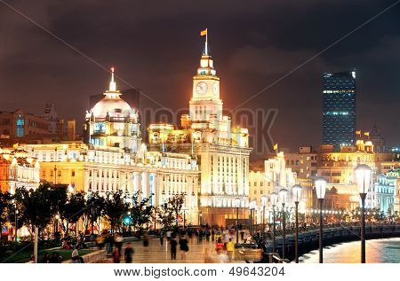 Shanghai Waitan night view with historic buildings over Huangpu River