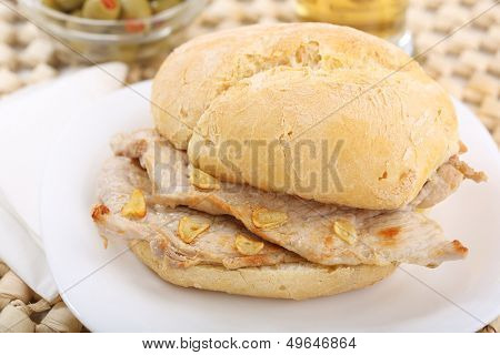 traditional portuguese pork beef sandwich