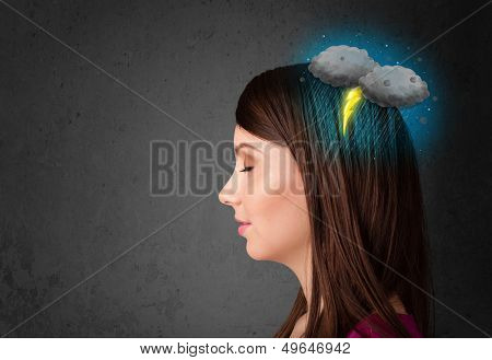 Young girl with thunderstorm lightning headache illustration