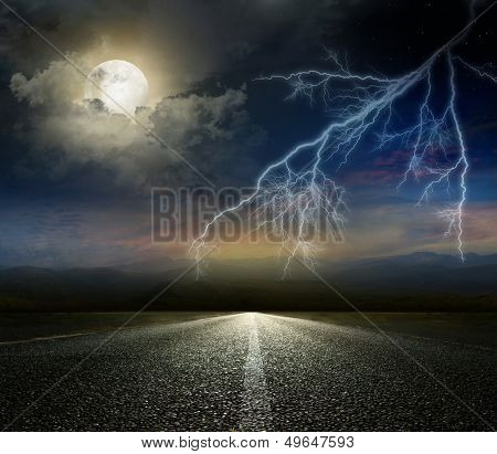Dramatic sky over an asphalt road