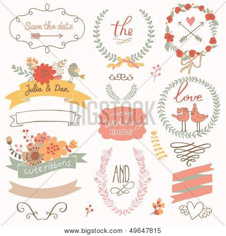 Wedding romantic collection with labels, ribbons, hearts, flowers, arrows, wreaths, laurel and birds. Graphic set �¢�?�?  Save the Date invitation in vector.