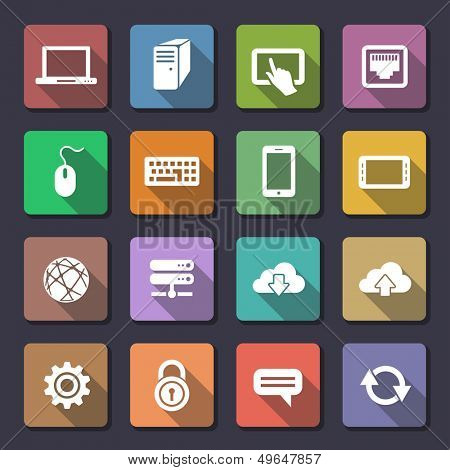 Network and mobile devices. Network connections icons. Flaticons series (metro style flat icons with long shadow)