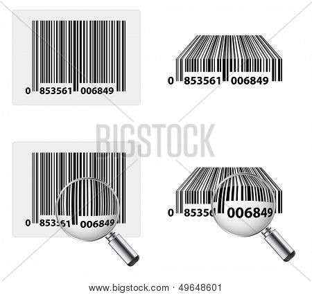 bar code with magnifying glass icon