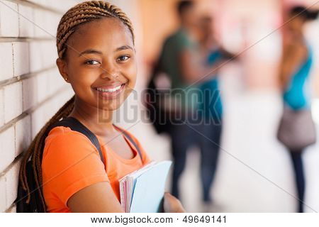 pretty african american university student closeup